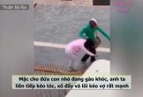 Xôn xao clip chồng lao vào đánh đập, giật tóc, xô ngã vợ bầu ngay giữa phố