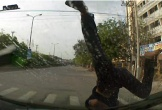 Bất ngờ chạy qua đường, bé trai bị ô tô hất văng gây