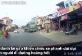Tài xế container phanh cháy đường tránh xe máy sang đường bất cẩn
